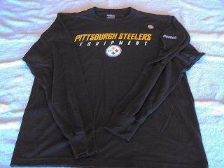 PITTSBURGH STEELERS Logo NFL Black Reebok Sideline Equipment Long