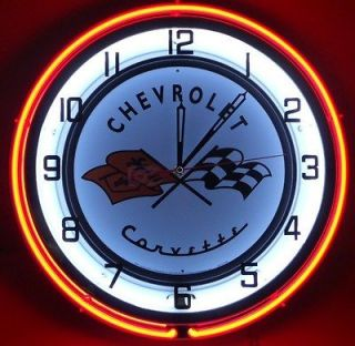 Chevy Corvette 18 Neon Clock Parts Dealer Emblem Logo Garage Sting