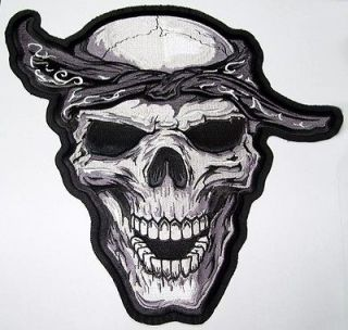 BANDANA SKULL Motorcycle Vest BACK PATCH Biker Patches