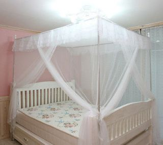 White Luxury 4 Post Lace Bed Canopy Set Mosquito Net 72x 86
