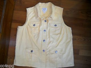 BANKS CHRISTOPHER & BANKS Womens YELLOW Stretch Denim Vest Size