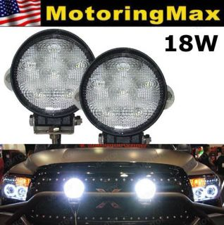 Two) 18W 1500 lum High Power LED Work Lights Lamps SUV Truck Farming