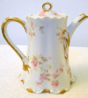 Vintage Tea Pot 100+ Yrs Old Haviland Limoges France Red Pink Rose