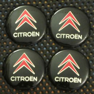 Black & Red Colour Wheel Center Cap Stickers (CITROEN) 57mm