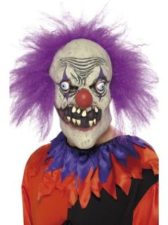 Adult Mens Evil Clown Mask, Latex Scary Clown Smiffys Halloween Fancy