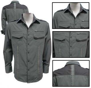 Mens Franky Max Designer Clubbing Shirt CE 7934LP Army, Bone & Black