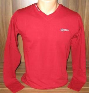 Season Armani V neck Red Long Sleeve T Shirt size M