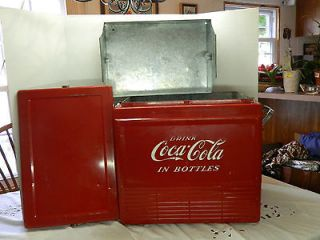 Vintage Antique Coca Cola Cooler (scarce flat top) est 1940s 50s