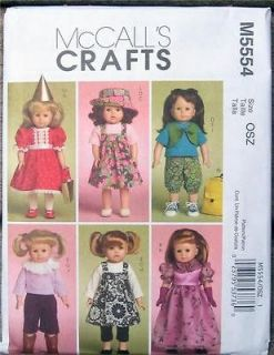 Pattern 5554 Veratile Wardrobe Fits 18 Doll Clothes & American Girl