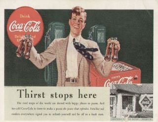 Coca Cola Coke 1939 Original Ad, Vintage Red/White Cooler, Gas Station
