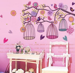 Huge Colourful Flowers Bird Cage & Tree Wall Stickers Vinyl Art Decal