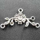 80Pcs Tibetan Silver Flower Connectors 12x15mm