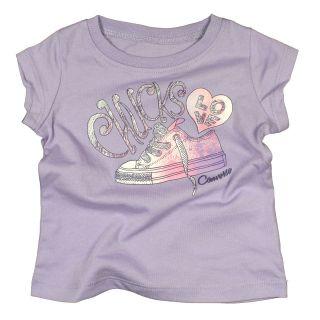 CONVERSE BABY GIRL LILAC PURPLE GLITTER TEE SHIRT CHUCK TAYLOR ALL