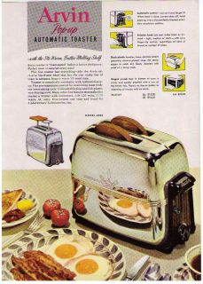 1951 AD ARVIN POP UP TOASTER, PORTABLE COOL R HOT ELECTRIC FAN HEATERS
