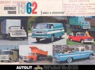 1962 Chevrolet Truck Models & Specifications Brochure