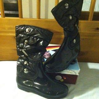 EDDIE MARC KIDS Black Fashion Rain/Winter Boots Girls SZ 4 See Pix