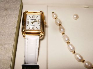 Womens Cote dAzur 4 Piece Fashion Watch Set Ivory/Gold BRAND NEW