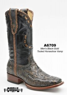 Corral Mens Cowboy Western Boots Genuine Leather Black/Gold A6709