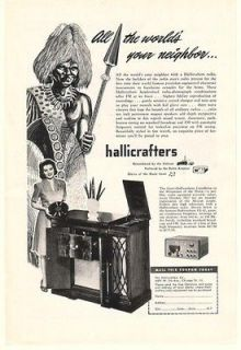 1947 Hallicrafters Console Radio Phonograph Print Ad