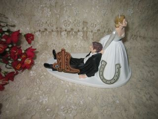 HUMOROUS WEDDING WESTERN COWBOY BOOT CAKE TOPPER PRIORITY SHIPPING