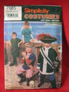 Costume pattern Child S M L 7965 Peter Pan pirate Captain Hook
