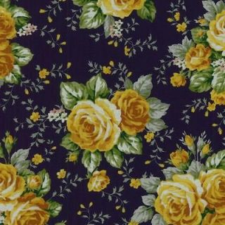 Texas Rose Yellow Blue Pink Green Leaf Floral Quilt Fabric 1272 1