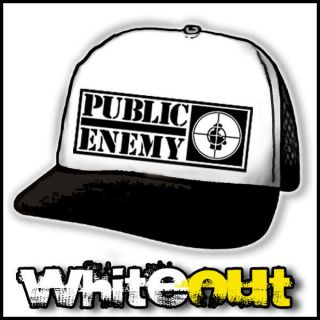 PUBLIC ENEMY TARGET HIP HOP RAP WHITE + BLACK TRUCKERS CAP MESH