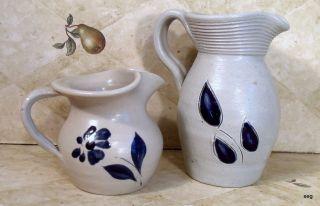 Charming WILLIAMSBURG POTTERY Salt Glaze PITCHERS Blue Flower