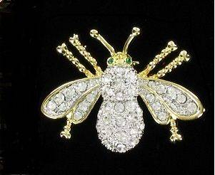 Swarovski Crystal Goldtone Bee Pin Brooch NEW