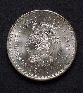 1948 MEXICO CINCO 5 PESOS ESTADOS UNIDOS MEXICANOS .868 SILVER COIN