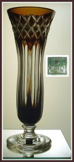 BROWN Pedestal Vase CUT TO CLEAR CRYSTAL Bavaria, Germany WMF