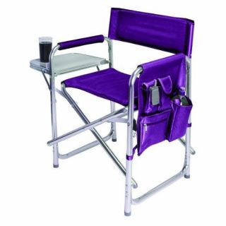 Picnic Time portable folding aluminum Sports Chair w/ side table   Red