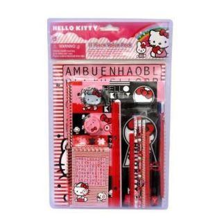 Hello Kitty School Supply Set Pencil Ruler Notebook Memo Pad Etc