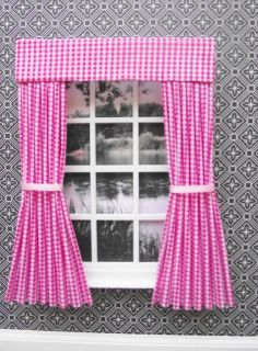 MINIATURE DOLLS HOUSE PINK CHECK CURTAINS AND PELMET 12CM WIDE NEW