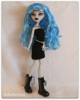 Goth Clothes Dress + Jewelry + Belt 4 MONSTER HIGH DOLL Custom Fashion