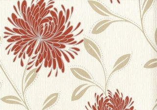 DAHLIA RED & CREAM GLITTER TEXTURED FLORAL FEATURE WALLPAPER 6120 BY