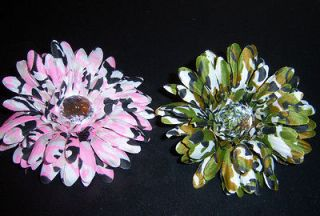 wholesale lot 12 CAMO gerbera daisy FLOWER bridal CRAFT tutu HAIR