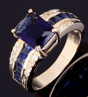 Jewelry Mens Blue Sapphire 10KT Yellow Gold Filled Ring Size 10 For