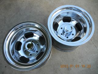 JUST POLISHED 6 LUG INDY SLOT MAG WHEELS VAN DATSUN GASSER MAGS 15x10