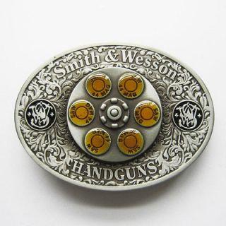 Smith & Wesson Gun Spinner Bullet Metal Belt Buckle