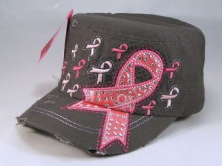 Gray Breast Cancer Cadet Castro Hat Vintage Military Army Cap Jewels
