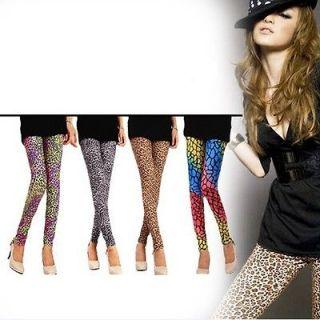 Women Sexy Personality Punk Leopard Print Leggings Tights Pants K91