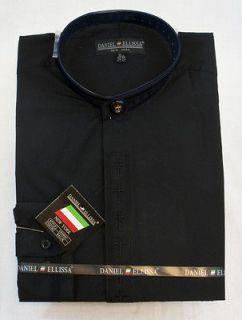 New Daniel Ellissa Black Christian Clergy Shirt Banded Collar, DS2005C