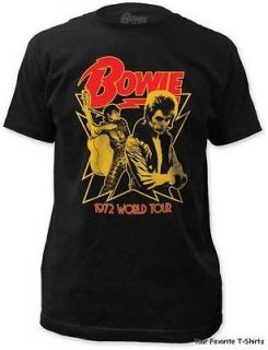 David Bowie 1972 World Tour Officially Licensed Adult Fitted Shirt S
