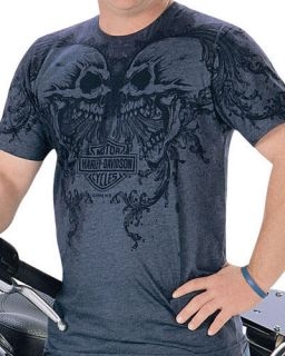 Harley Davidson Mens Scroll Up Screaming Skulls Blue Grey Heather T