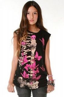 ABBEY DAWN AVRIL LAVIGNE ELLIE SKELLIE SKULL MUSCLE TEE t shirt NWT