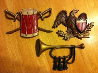 Metal Sexton Wall Hanging Plaques Drum Swords Eagle Bugle USA MADE