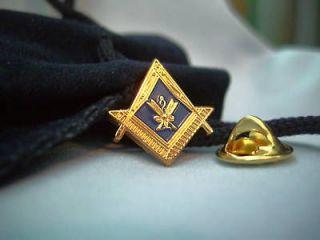 Masonic Lodge Secretary Lapel Pin Badge and Pouch