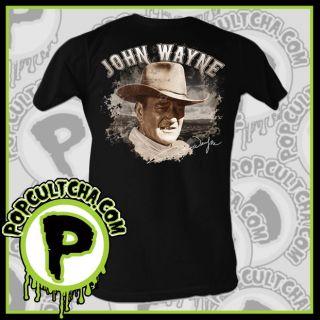 John Wayne   Profile Black Mens T Shirt American Classics