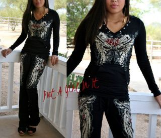 PLUS SIZE CRYSTAL TATTOO GUNS PISTOL WINGS HOODIE SWEATSUIT JOGGING 1X